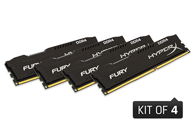 32GB 2133MHz DDR4 CL14 DIMM (Kit of 4) HyperX FURY Black(PC4-17000)